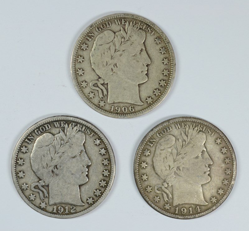 LOT OF ( 3 ) BARBER HALF DOLLARS, 1906-D, 1912-D, AND