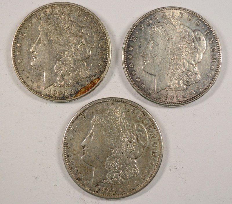 1921 P-D-S MORGAN SILVER DOLLARS: NICE CIRCULATED