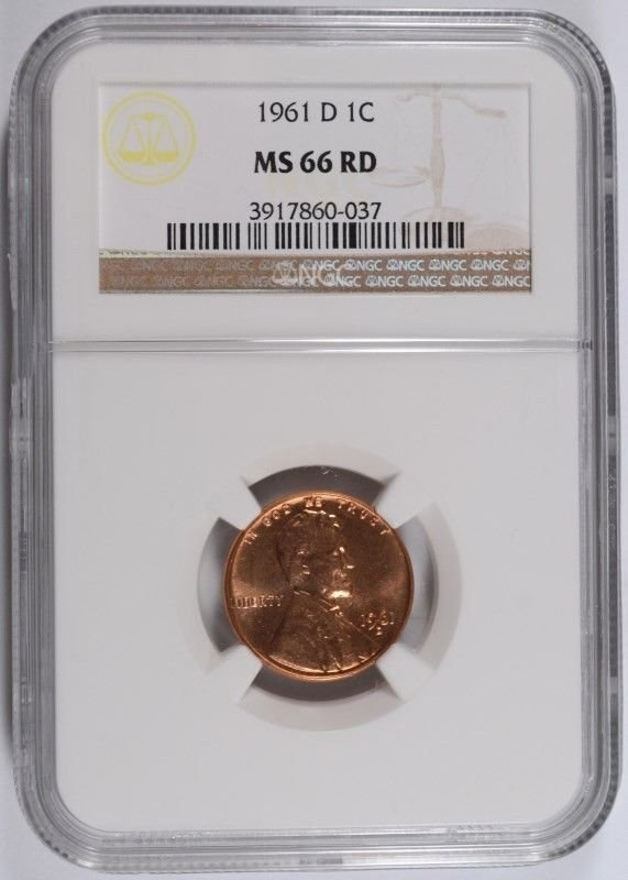 1961-D LINCOLN CENT, NGC MS-66 RED! LOOKS 67 RED! WHICH