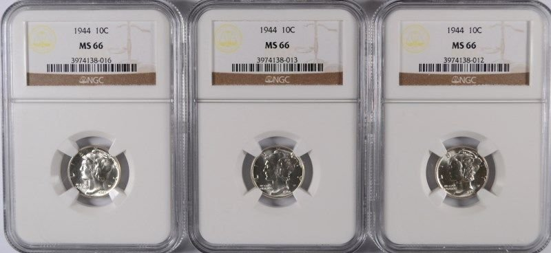 3 1944 MERCURY DIMES NGC MS-66