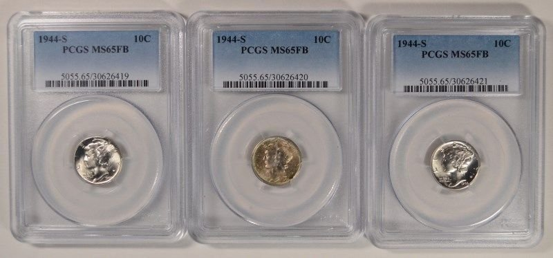 LOT OF (3) 1944-S MERCURY DIMES PCGS MS-65 FB