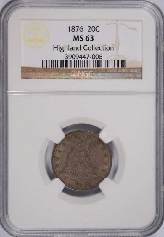 1876 TWENTY CENT PC NGC MS-63 (HIGHLAND COLLECTION)