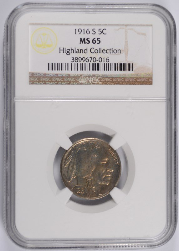 1916-S BUFFALO NICKEL NGC MS-65 (HIGHLAND COLLECTION)