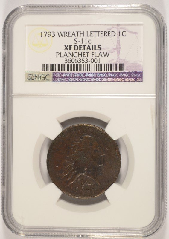 1793 (WREATH LETTERED) LARGE CENT NGC XF DETAILS (GS