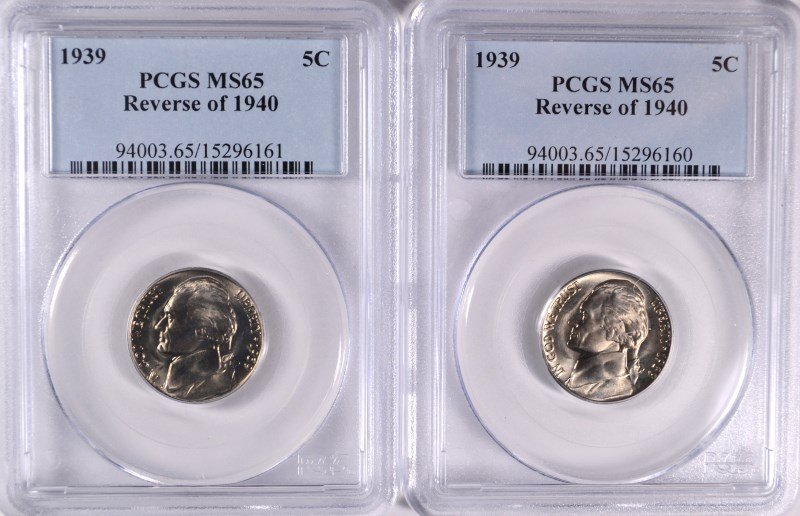 ( 2 ) 1939 REVERSE OF 1940 JEFFERSON NICKELS, PCGS