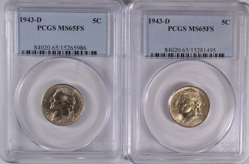 ( 2 ) 1943-D JEFFERSON NICKELS, PCGS MS-65 FULL STEPS!