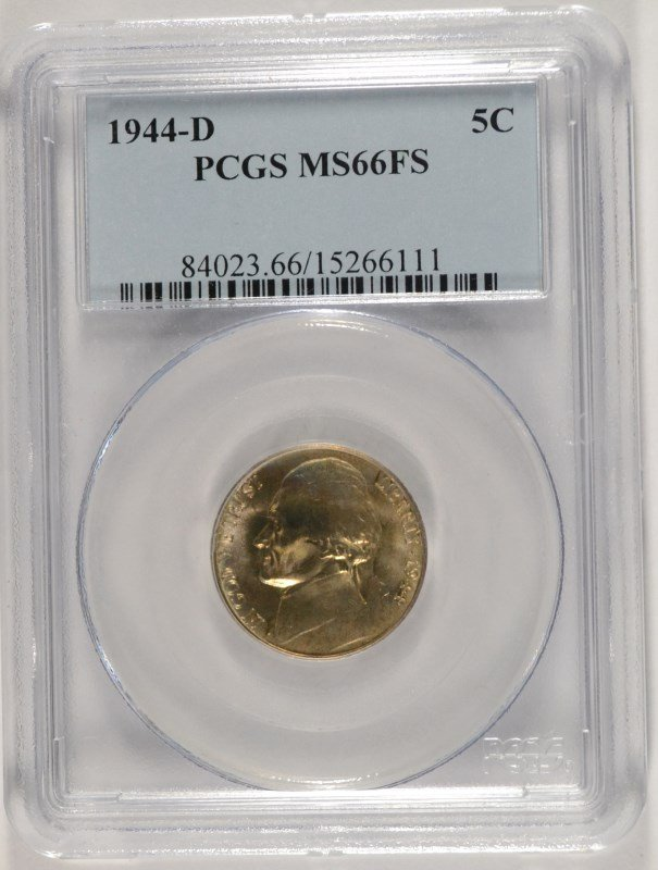 1944-D JEFFERSON NICKEL, PCGS MS-66 FULL STEPS  TOUGH!