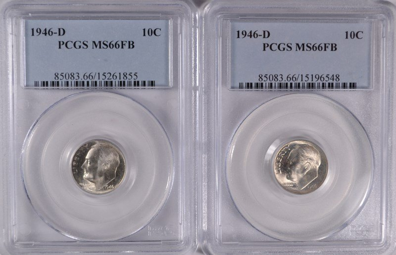 ( 2 ) 1946-D ROOSEVELT DIMES, PCGS MS-66 FULL BANDS!