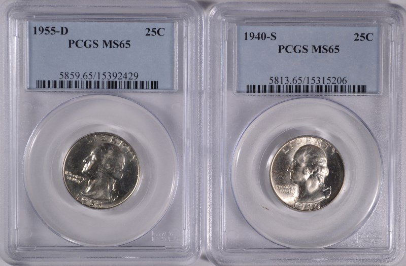 Lot of 2 Washington Quarters PCGS MS65 Better Dates