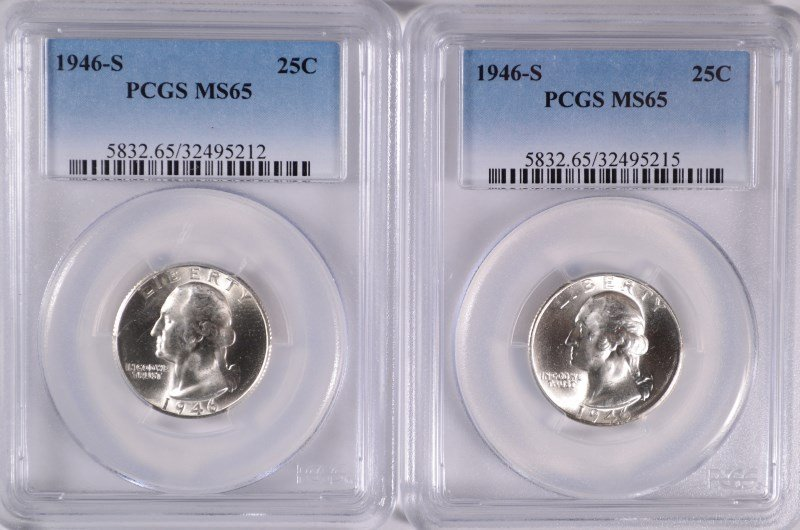 ( 2 ) 1946-S WASHINGTON QUARTERS, PCGS MS-65 GEMS!