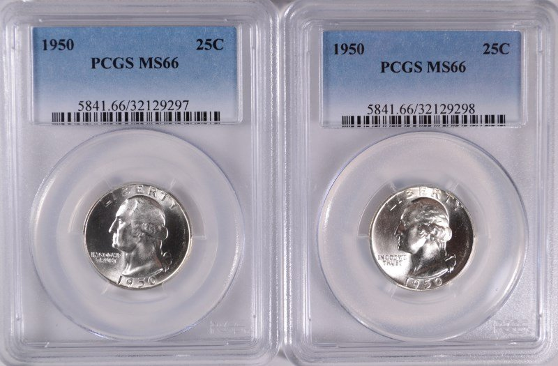 ( 2 ) 1950 WASHINGTON QUARTERS, PCGS  MS-66