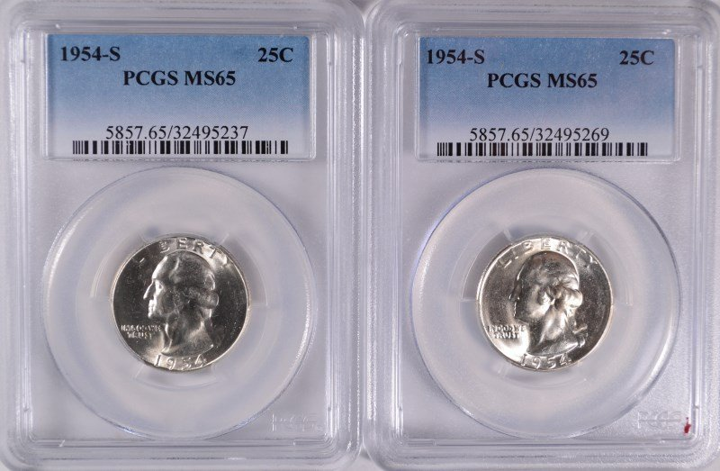 ( 2 ) 1954-S WASHINGTON QUARTERS, PCGS MS-65 GEMS