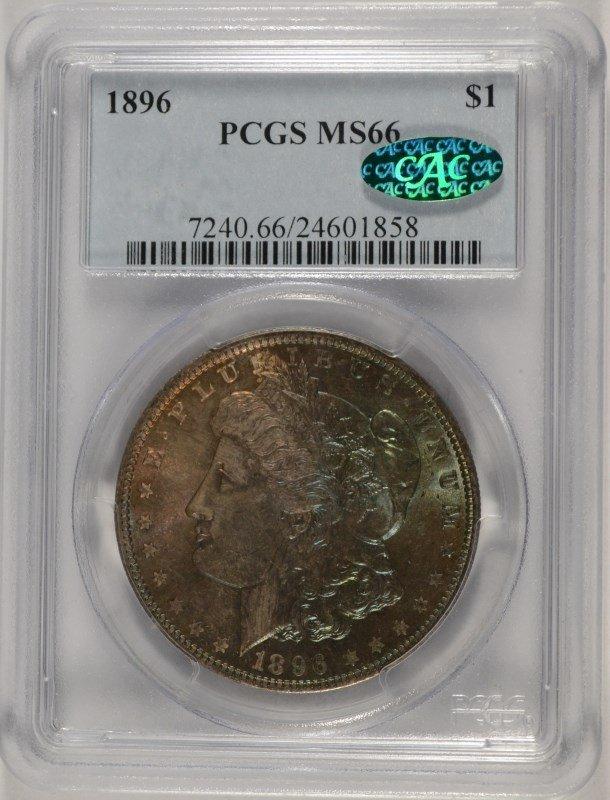 1896 MORGAN DOLLAR PCGS MS-66 (CAC) (AMAZING TONING)