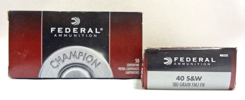 2 Boxes of Federal 40 SW 180 Grain FMJ FN. 50