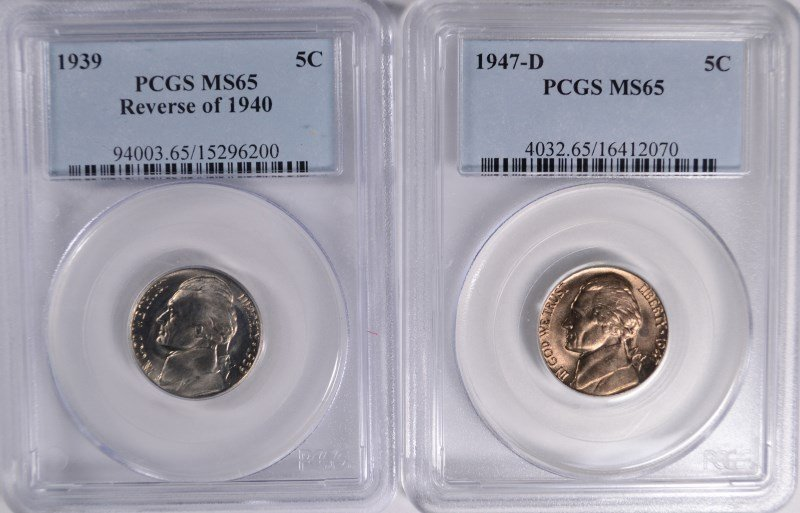 2 JEFFERSON NICKELS 1939 REV. OF 40, 47-D PCGS MS-65
