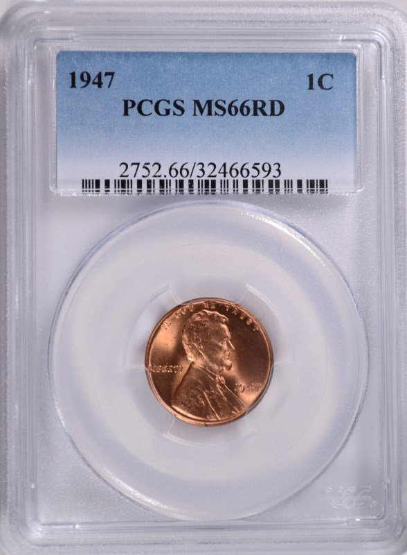 1947 LINCOLN CENT, PCGS MS-66 RED