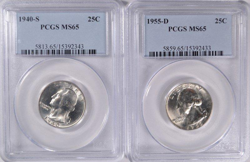 Lot of 2 Wash Quarters PCGS MS65 Better Dates 40s, 55d