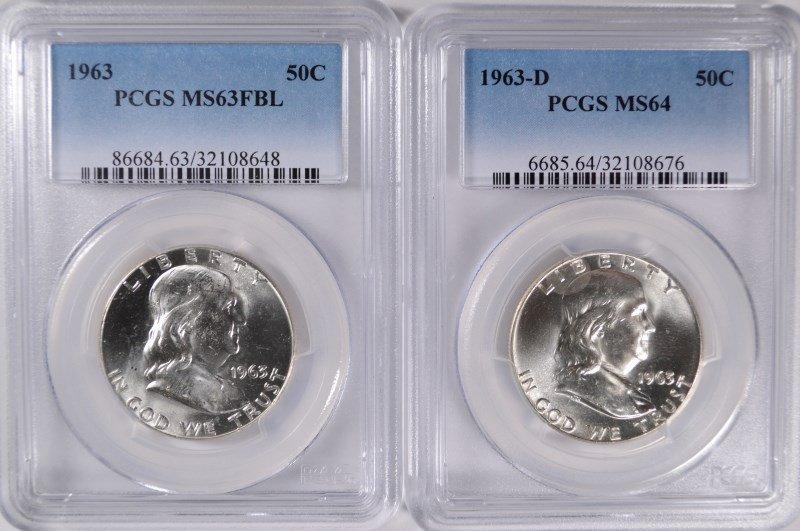 ( 2 ) PCGS GRADED FRANKLIN HALF DOLLARS: 1963 MS-63 FBL