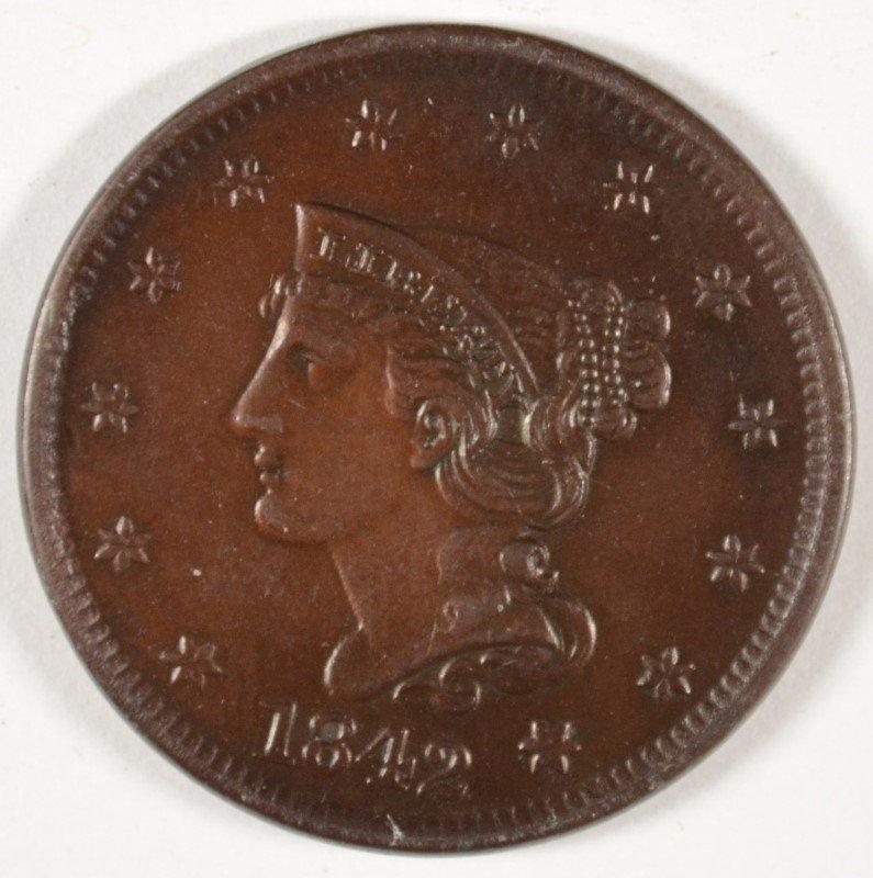 1842 LARGE CENT MS65+