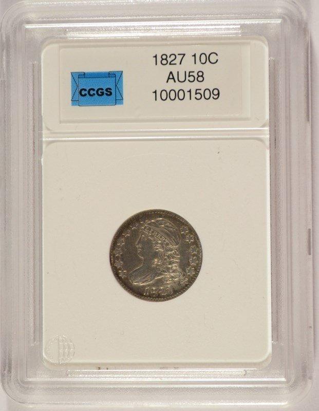 1827 BUST DIME, CCGS AU-58