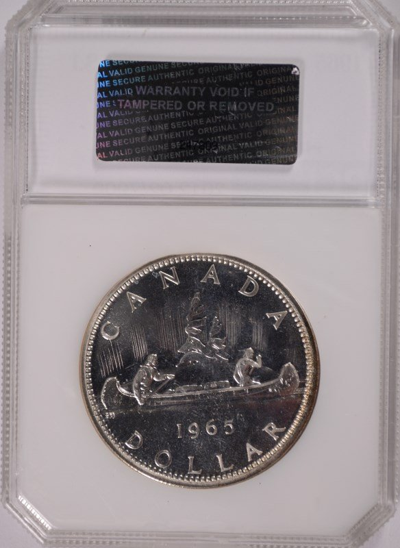 1965 CANADIAN SILVER DOLLAR, PCI MS-66 RARE! - 4