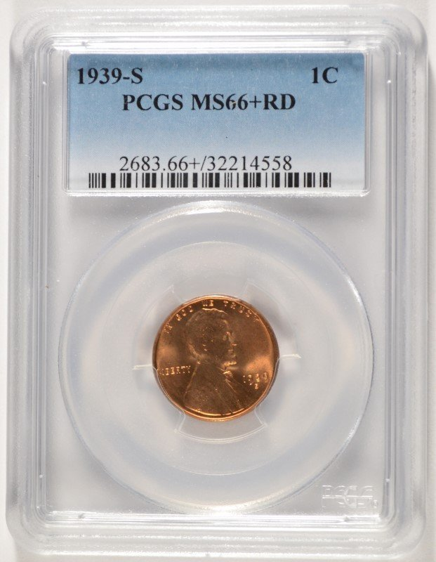 1939-S LINCOLN CENT, PCGS MS-66+ CHERRY!