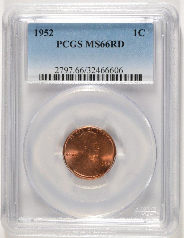 1952 LINCOLN CENT, PCGS MS-66 RED