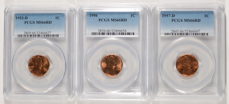 LOT OF ( 3 ) PCGS MS-66 RED LINCOLN CENTS, 1953-D, 1956