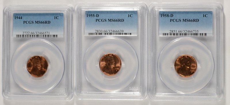 LOT OF ( 3 ) PCGS GRADED MS-66 RED LINCOLN CENTS: 1944,