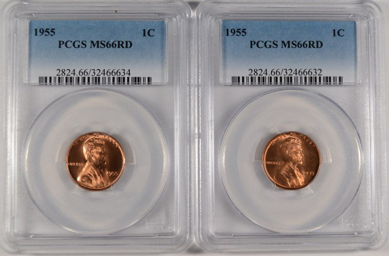 LOT OF ( 2 ) 1955 LINCOLN CENTS, PCGS MS-66 RED