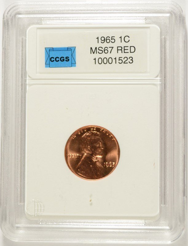 1965 LINCOLN CENT, CCGS MS-67 RED  LISTS FOR $600.00