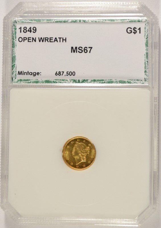 1849 GOLD DOLLAR OPEN WREATH PCI MS-67