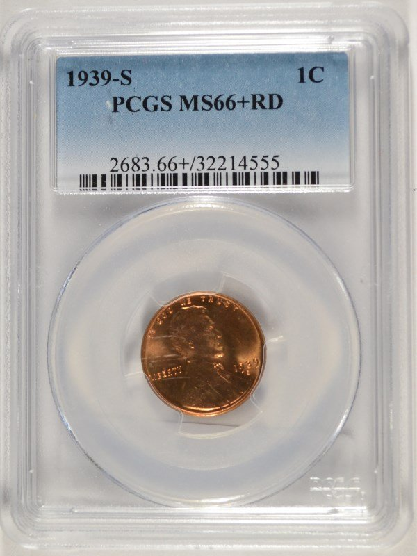 1939-S LINCOLN CENT, PCGS MS-66+ RED