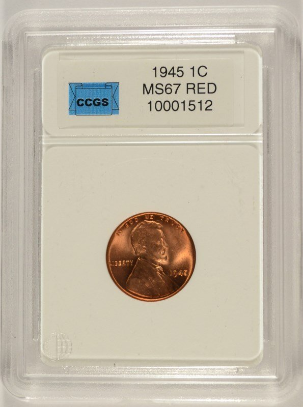 1945 LINCOLN CENT, CCGS MS-67 RED  LISTS FOR $800.00