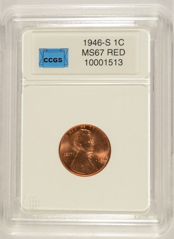 1946-S LINCOLN CENT, CCGS MS-67 RED  LISTS FOR $625.00