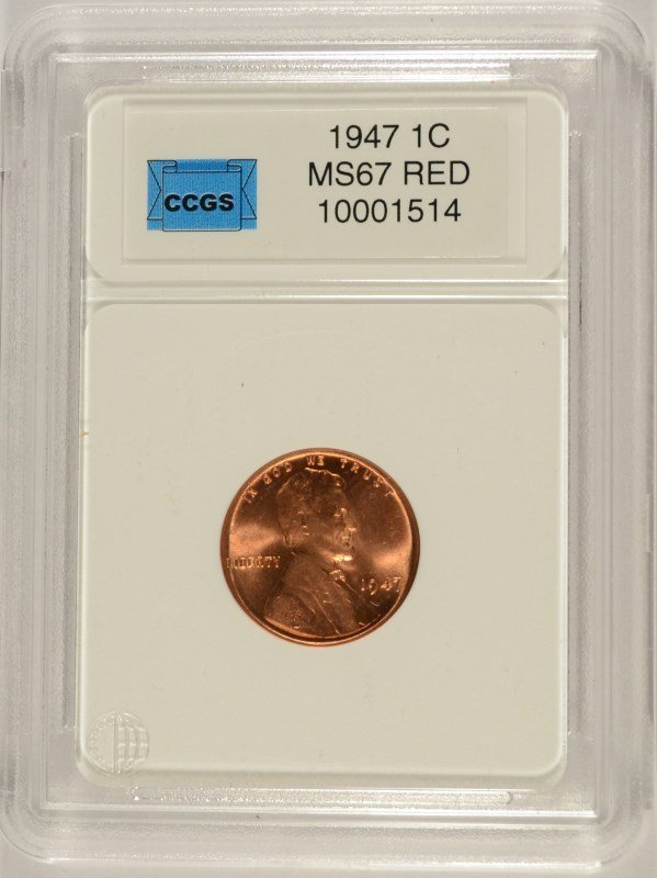 1947 LINCOLN CENT, CCGS MS-67 RED  LISTS FOR  $400.00