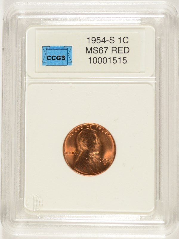 1954-S LINCOLN CENT, CCGS MS-67 RED