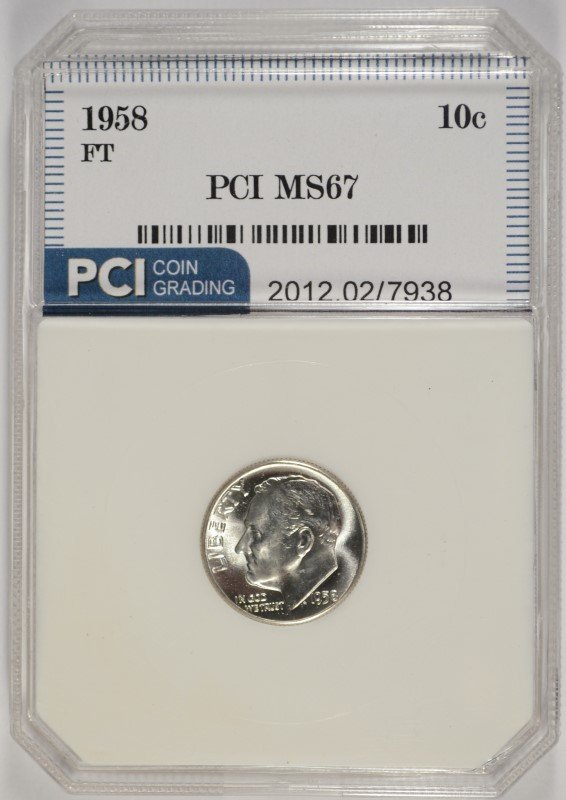 1958 ROOSEVELT DIME, PCI MS-67 FULL TORCH!  LISTS AT