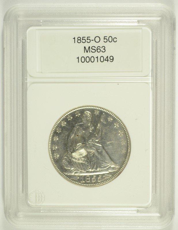 1855-O ARROWS SEATED HALF DOLLAR, CCGS MS-63 WHITE NICE