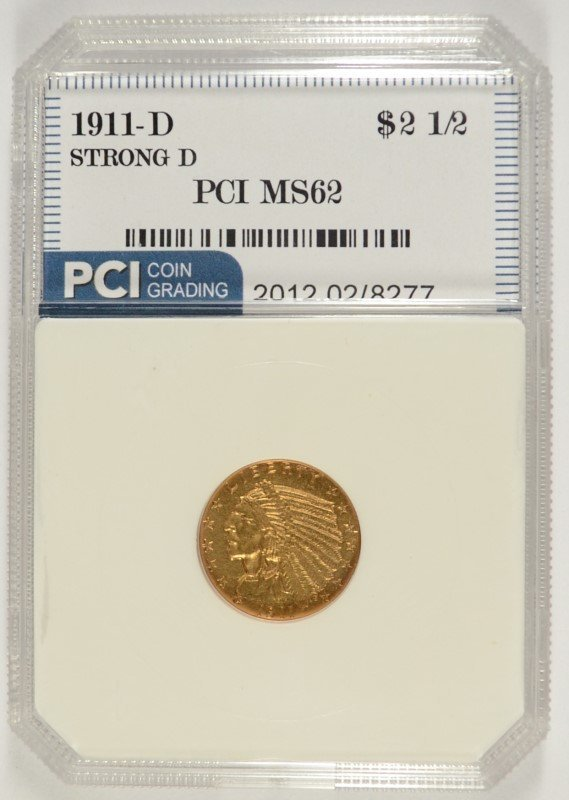 1911-D $2.50 GOLD INDIAN ( STRONG-D )  PCI MS-62