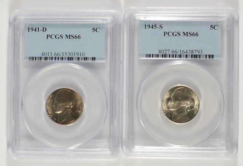 2 JEFFERSON NICKELS 1941-D, & 45-S PCGS MS-66
