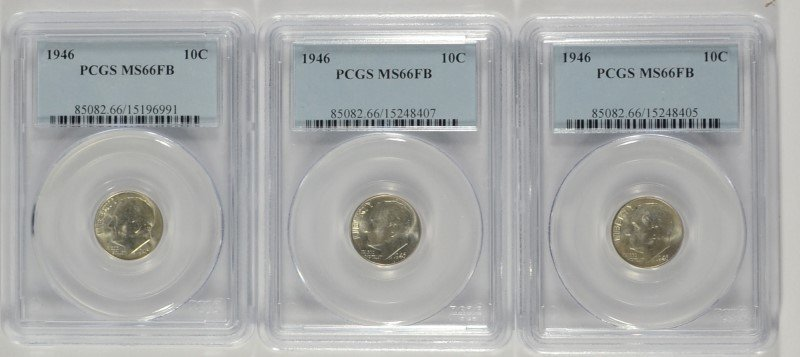 ( 3 ) 1946 ROOSEVELT DIMES, PCGS MS-66 FULL BANDS