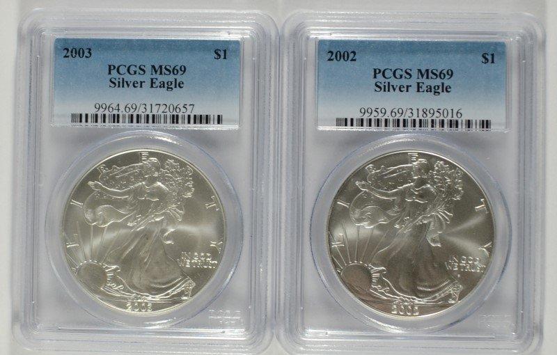 2002 & 2003 AMERICAN SILVER EAGLES, PCGS MS-69