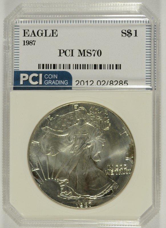 1987 AMERICAN SILVER EAGLE, PCI MS-70 PERFECT RARE!