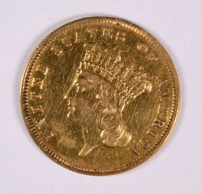 1856-S $3 GOLD XF/AU