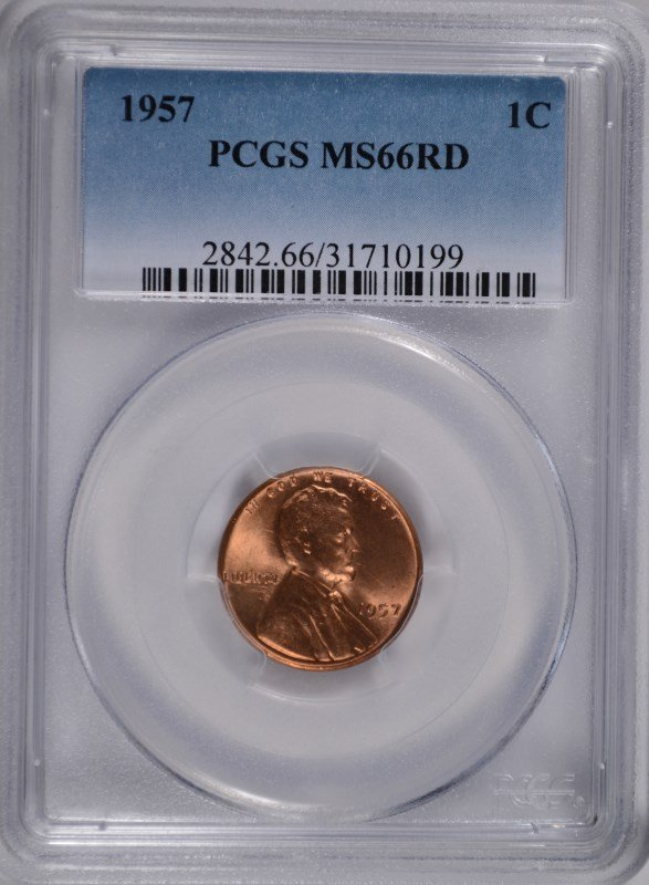 1957 LINCOLN CENT PCGS MS66 RED