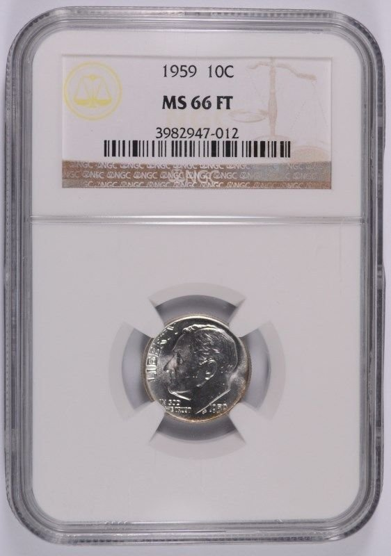 1959 ROOSEVELT DIME, NGC MS-66 FULL TORCH