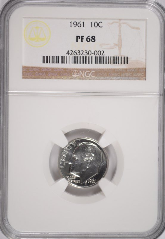 1961 ROOSEVELT DIME, NGC PROOF-68