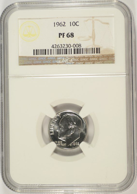 1962 ROOSEVELT DIME, NGC PROOF-68