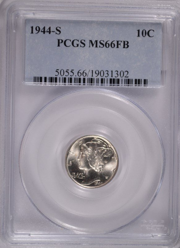 1944-S MERCURY DIME, PCGS MS-66 FULL BANDS